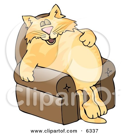 Anthropomorphic Cat Napping On a Recliner Chair Clipart Picture by djart