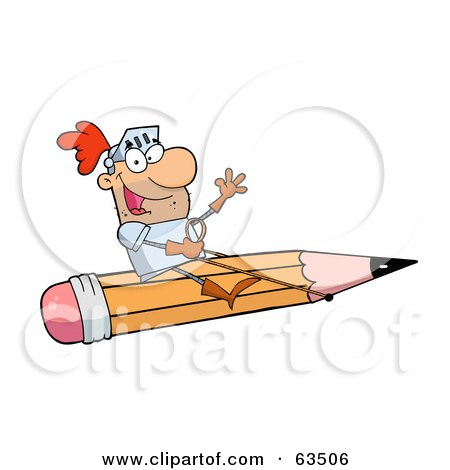 Royalty-Free (RF) Clipart Illustration of a Freelancer Knight Man Riding A Giant Pencil by Hit Toon