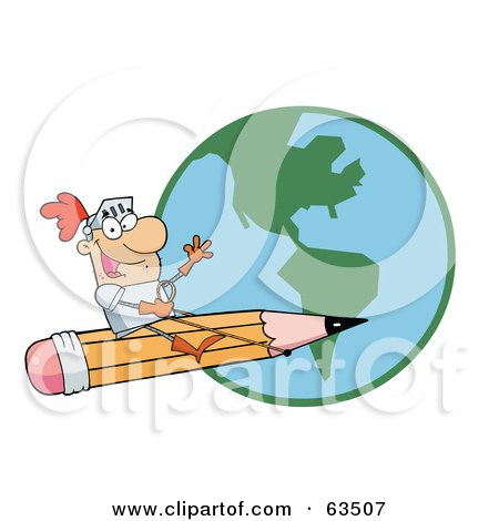 Royalty-Free (RF) Clipart Illustration of a Freelancer Knight Man Riding On A Giant Pencil Over A Globe by Hit Toon