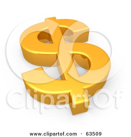 Royalty-Free (RF) Clipart Illustration of a 3d Shiny Golden Dollar Symbol Resting Flat by 3poD
