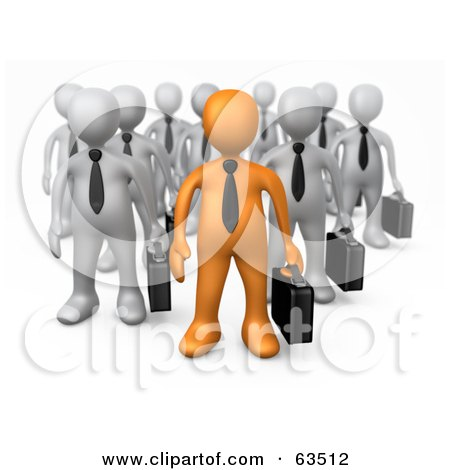 Royalty-Free (RF) Clipart Illustration of an Orange Business Person Leading A Group Of Gray Men by 3poD