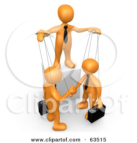 Royalty-Free (RF) Clipart Illustration of an Orange Person Controlling Business Men On Strings by 3poD