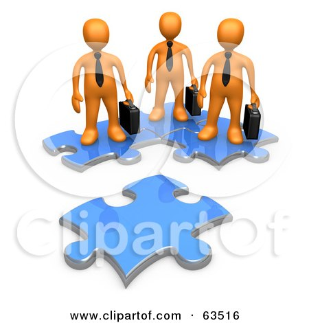 Royalty-Free (RF) Clipart Illustration of Three Orange Business People Standing On Connected Puzzle Pieces, Looking At A New Piece by 3poD