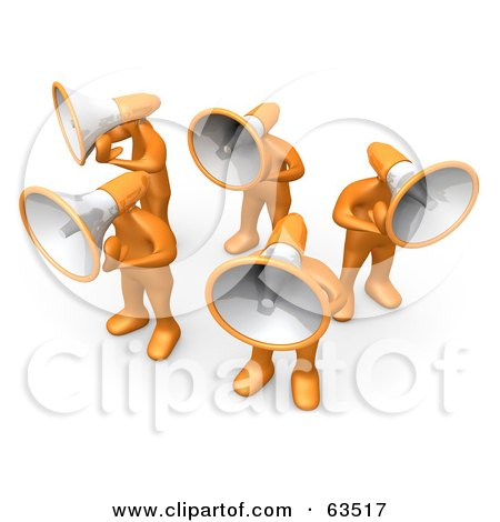 Royalty-Free (RF) Clipart Illustration of a Group Of Orange People With Megaphone Heads by 3poD