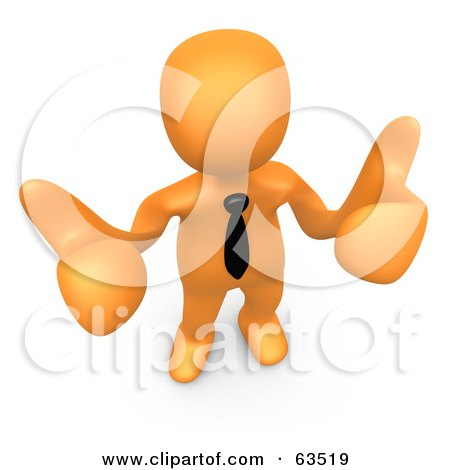 Royalty-Free (RF) Clipart Illustration of an Orange Person Giving Two Thumbs Up, by 3poD