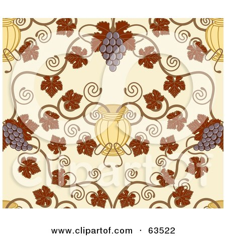 Royalty-Free (RF) Clipart Illustration of a Seamless Grape Vine Background With Autumn Leaves, Fruit And Urns On Beige by AtStockIllustration