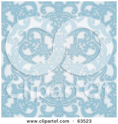 Royalty-Free (RF) Clipart Illustration of a Seamless Blue Geometric Floral Background by AtStockIllustration