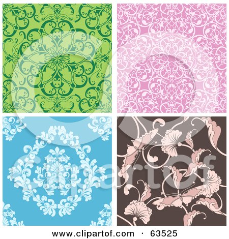 Royalty-Free (RF) Clipart Illustration of a Digital Collage Of Four Seamless Floral Tile Backgrounds In Green, Pink, Blue And Brown by AtStockIllustration