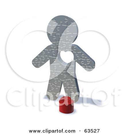 Royalty-Free (RF) Clipart Illustration of a Red Puzzle Heart In Front Of A 3d Jigsaw Man by AtStockIllustration