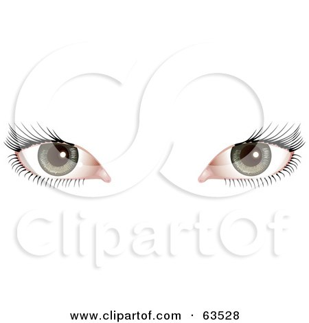 Royalty-Free (RF) Clipart Illustration of a Woman's Green Eyes With Long Black Lashes by AtStockIllustration