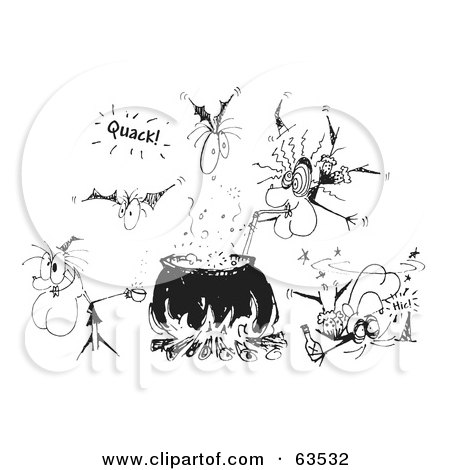 Royalty-Free (RF) Clipart Illustration of a Black And White Sketch Of Witches And Bats Around A Cauldron by Andy Nortnik
