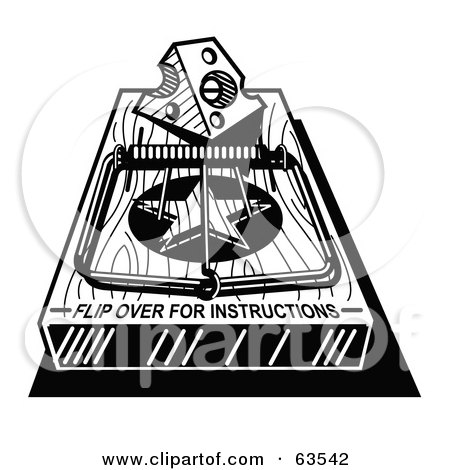 Black And White Mousetrap With A Piece Of Cheese And Text Reading Flip Over For Instructions Posters, Art Prints