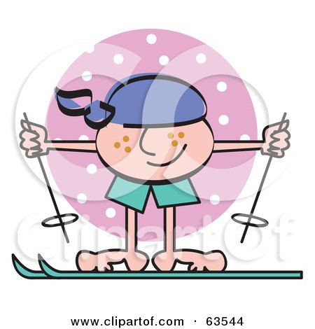 Royalty-Free (RF) Clipart Illustration of a Freckled Boy Skiing by Andy Nortnik