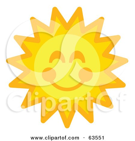 Royalty-Free (RF) Clipart Illustration of a Cheery Orange And Yellow Sun Face With A Smile by Andy Nortnik