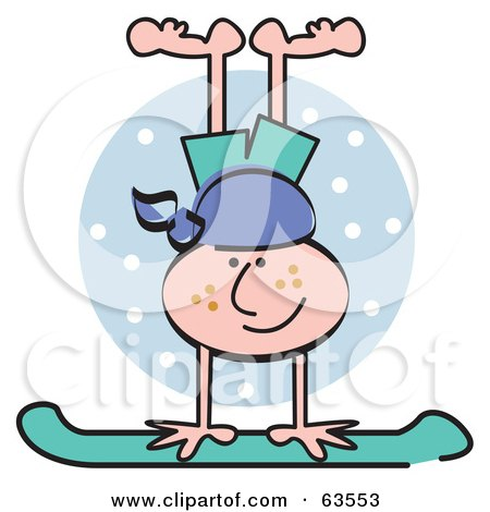 Royalty-Free (RF) Clipart Illustration of a Freckled Boy Doing A Handstand On His Snowboard by Andy Nortnik