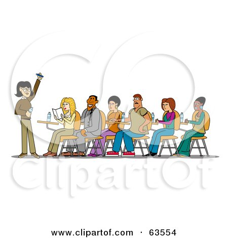 Royalty-Free (RF) Clipart Illustration of a Group Of Students Sitting At Desks And Listening To A Female Teacher by Andy Nortnik