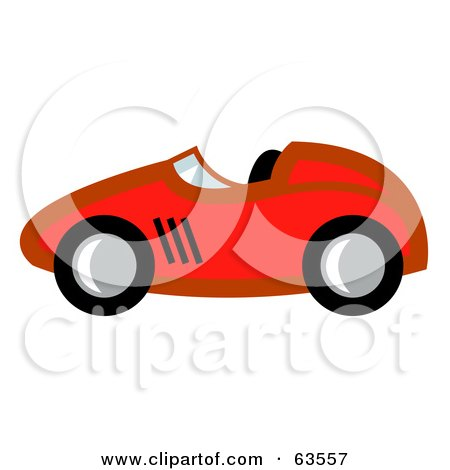 Royalty-Free (RF) Clipart Illustration of a Profiled Red Race Car by Andy Nortnik