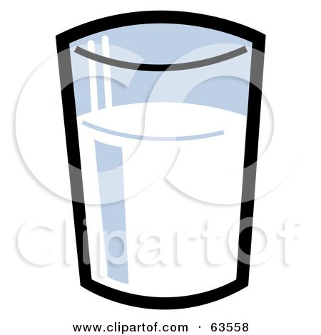 Royalty-Free (RF) Clipart Illustration of a Shiny Glass Of Cow Or Soy Milk by Andy Nortnik