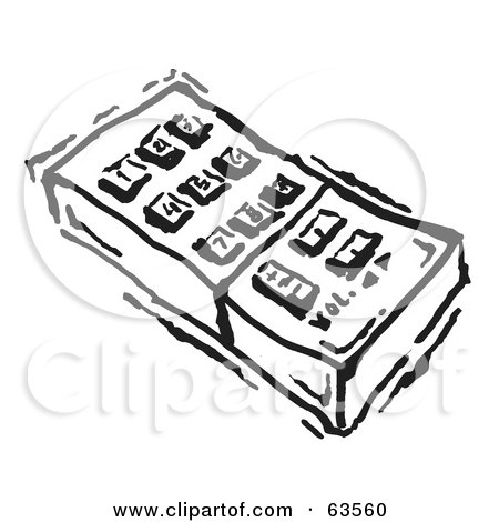 Royalty-free clipart picture of a black and white remote control with push