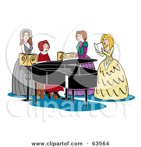 Royalty-Free (RF) Clipart Illustration of a Group Of Four Victorian Women Singing And Playing A Piano by Andy Nortnik
