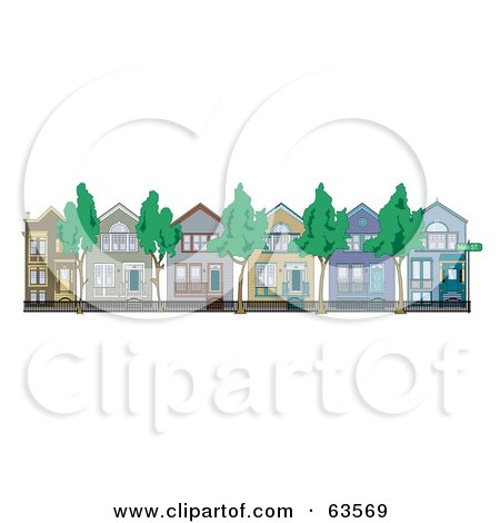 Royalty-Free (RF) Clipart Illustration of a Row Of Perfect Victorian Houses With Iron Fencing And Trees by Andy Nortnik