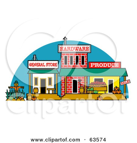 Royalty-Free (RF) Clipart Illustration of an Old Town With General, Hardware, And Produce Store Fronts by Andy Nortnik