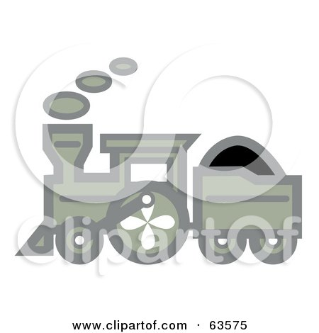 Royalty-Free (RF) Clipart Illustration of a Green Steam Train In Profile by Andy Nortnik