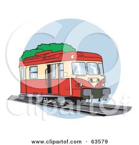 Royalty-Free (RF) Clipart Illustration of a Red And Yellow European Train by Andy Nortnik