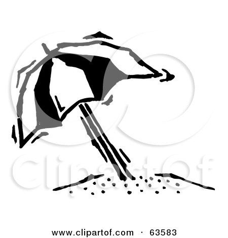 Royalty-Free (RF) Clipart Illustration of a Black And White Tilted Beach Umbrella by Andy Nortnik