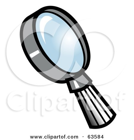 Royalty-Free (RF) Clipart Illustration of a Gray Handled Magnifying Glass With A Blue Lens by Andy Nortnik