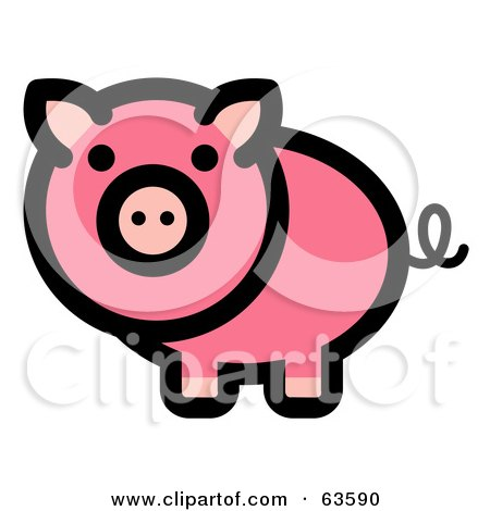 Royalty-Free (RF) Clipart Illustration of a Curly Tailed Pink Pig Looking Outwards by Andy Nortnik