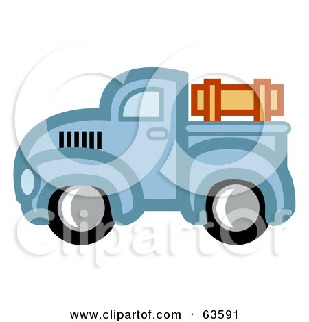 Royalty-Free (RF) Clipart Illustration of a Blue Vintage Pickup Truck With Wooden Rails by Andy Nortnik