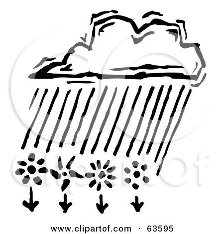 Royalty-Free (RF) Clipart Illustration of a Black And White Cloud Raining Down Onto Spring Flowers by Andy Nortnik