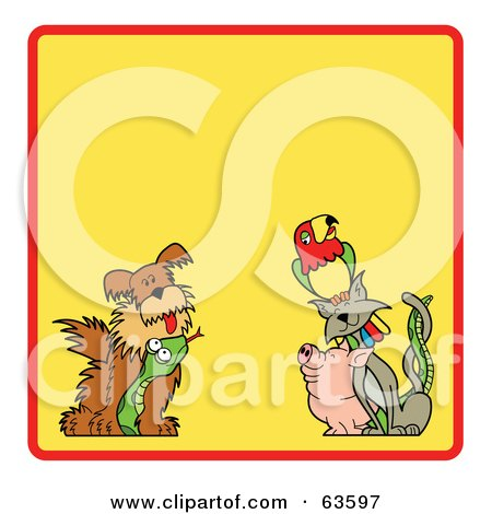 Royalty-Free (RF) Clipart Illustration of a Yellow Background Bordered With A Red Line, Dog, Snake, Pig, Cat And Parrot by Andy Nortnik