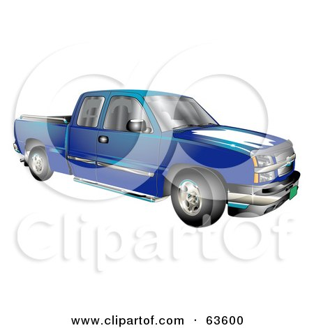 Royalty-Free (RF) Clipart Illustration of a Blue Chevy Silverado Pickup Truck by Andy Nortnik