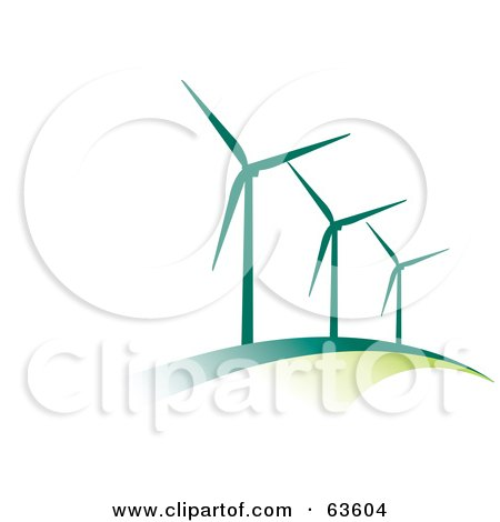 Line Of Green Wind Turbines On A Hill Posters, Art Prints