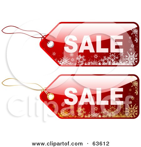 Royalty-Free (RF) Clipart Illustration of a Digital Collage Of Two Red Sale Tags With White And Gold Snowflakes by KJ Pargeter