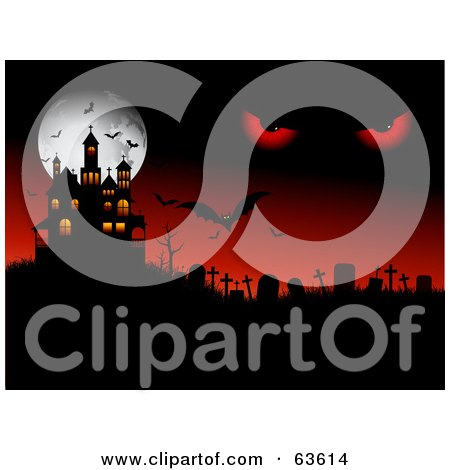 Royalty-Free (RF) Clipart Illustration of Demonic Eyes In A Red Sky Over A Cemetery With Bats, A Haunted House And A Full Moon by KJ Pargeter