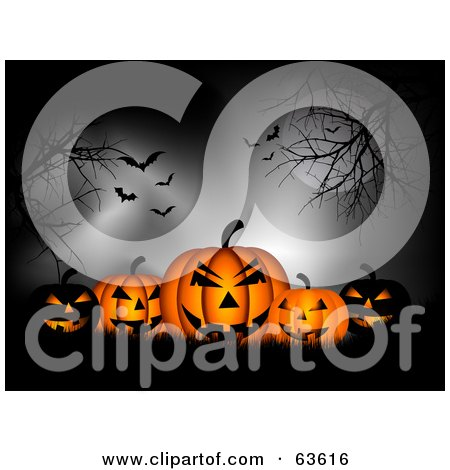 Royalty-Free (RF) Clipart Illustration of a Group Of Spooky Black And Orange Glowing Pumpkins In Silhouetted Grass, Under Trees, A Full Moon, Fog And Vampire Batss by KJ Pargeter