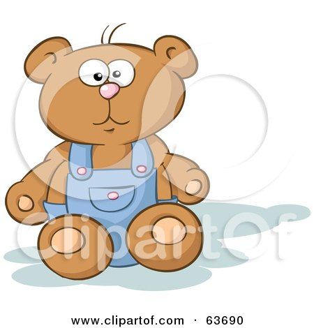Stuffed Teddy Bear Sitting And Wearing Blue Overalls Posters, Art Prints