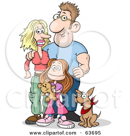 Royalty-Free (RF) Clipart Illustration of a Happy Caucasian Family Of Three; Mom, Dad, Daughter And Their Dog by Holger Bogen