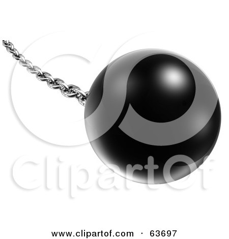 Royalty-Free (RF) Clipart Illustration of a Swinging 3d Black Ball On A Silver Chain - Version 1 by Tonis Pan