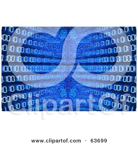 Royalty-Free (RF) Clipart Illustration of a Blue Diminishing Perspective Binary Code Background by Tonis Pan