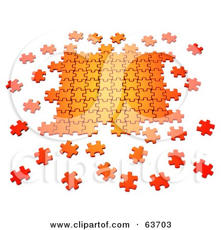 Royalty-Free (RF) Clipart Illustration of Scattered 3d Orange Puzzle Pieces Interlocking by Tonis Pan