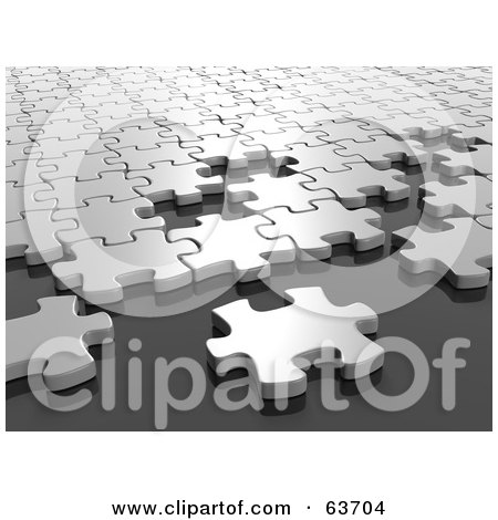 Royalty-Free (RF) Clipart Illustration of a 3d White Jigsaw Puzzle Building Outward by Tonis Pan