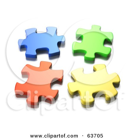 Royalty-Free (RF) Clipart Illustration of Four Seperated 3d Blue, Green, Orange And Yellow Jigsaw Puzzle Pieces by Tonis Pan