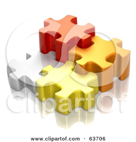 Royalty-Free (RF) Clipart Illustration of Different Sized 3d White, Red, Orange And Yellow Puzzle Pieces by Tonis Pan