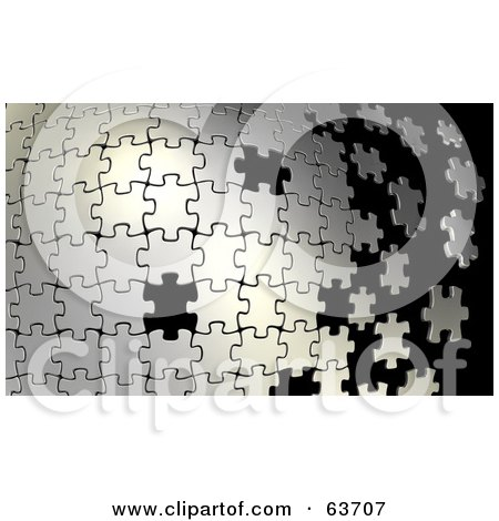 Royalty-Free (RF) Clipart Illustration of a Silver Puzzle Building From Left To Right, With Some Missing Black Spaces by Tonis Pan