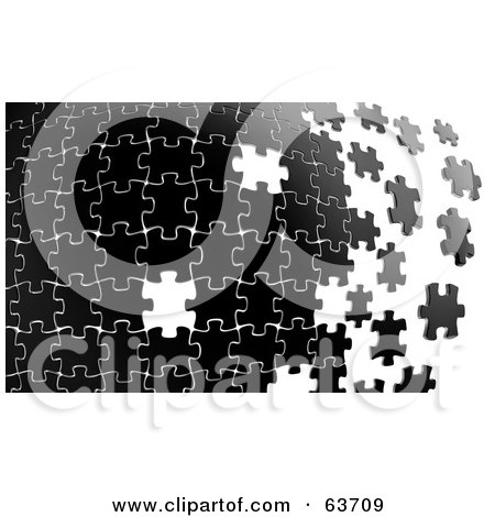 Royalty-Free (RF) Clipart Illustration of a Black Puzzle Building From Left To Right, With Some Missing White Spaces by Tonis Pan