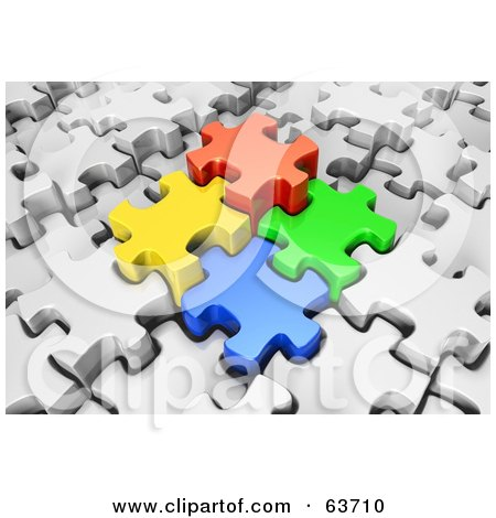 Royalty-Free (RF) Clipart Illustration of Four 3d Colored Puzzle Pieces Locking Into Place In A White Jigsaw Puzzle by Tonis Pan